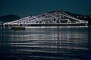 Japanese defense guard boats moored in the harbor of Yokosuka Japan
