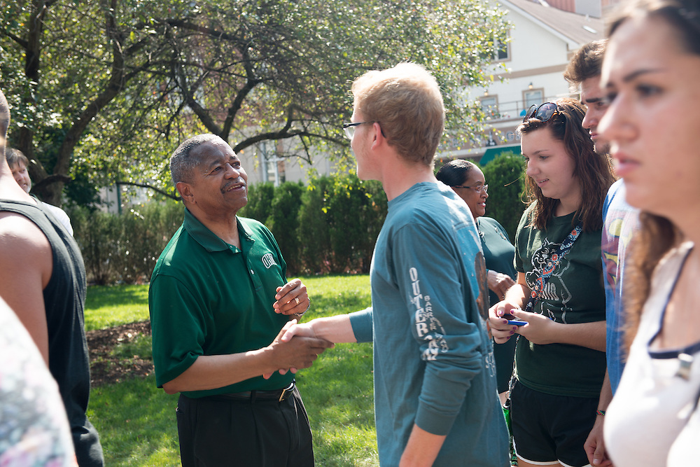 Ohio University President Roderick McDavis greets students following the First Year Student Convocation. Photo by Ben Siegel