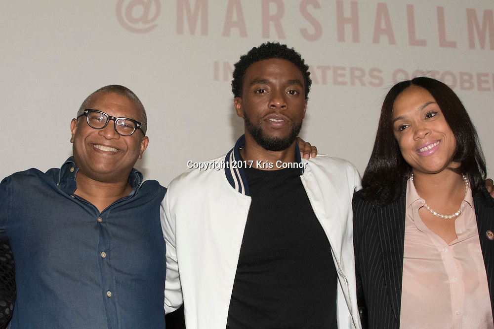 Director Reginald Hudlin,  Actor Chadwick Boseman Baltimore City State's Attorney Marilyn J. Mosby pose photo during a Q&A session after a screening of Open Road Films' new movie MARSHALL at in Baltimore, Md. on July 25th, 2017. (Photo by Kris Connor/Open Road Films)