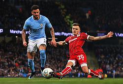 Jamie Paterson of Bristol City tackles Kyle Walker of Manchester City - Mandatory by-line: Matt McNulty/JMP - 09/01/2018 - FOOTBALL - Etihad Stadium - Manchester, England - Manchester City v Bristol City - Carabao Cup Semi-Final First Leg