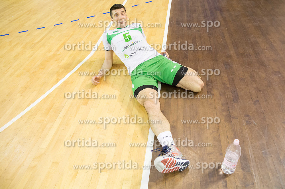 Dejan Pelemis of Panvita Pomgrad after winning during volleyball game between OK ACH Volley and OK Panvita Pomgrad in 1st final match of Slovenian National Championship 2013/14, on April 6, 2014 in Arena Tivoli, Ljubljana, Slovenia. Photo by Vid Ponikvar / Sportida