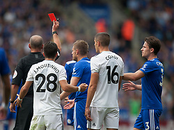 Referee Mike Dean (L) shows Jamie Vardy of Leicester City a red card - Mandatory by-line: Jack Phillips/JMP - 18/08/2018 - FOOTBALL - King Power Stadium - Leicester, England - Leicester City v Wolverhampton Wanderers - English Premier League