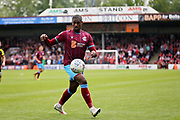 Scunthorpe United's Hakeeb Adelakun (16) during the EFL Sky Bet League 1 match between Scunthorpe United and Rotherham United at Glanford Park, Scunthorpe, England on 12 May 2018. Picture by Nigel Cole.