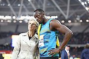 Usain Bolt of Jamaica after winning the 100m the Sainsbury's Anniversary Games at the Queen Elizabeth II Olympic Park, London, United Kingdom on 24 July 2015. Photo by Phil Duncan.