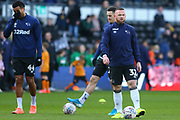 Wayne Rooney  warming up before the EFL Sky Bet Championship match between Derby County and Hull City at the Pride Park, Derby, England on 18 January 2020.