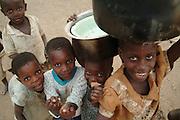 Africa. Malawi. Chizumulu Island. .Kids pose for the camera..CD0009