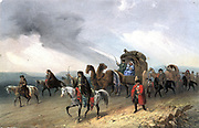 Tartars travelling across the Great Steppe. Lithograph c1840