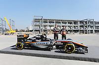 (L to R): Nico Hulkenberg (GER) Sahara Force India F1 with team mate Sergio Perez (MEX) Sahara Force India F1.<br /> Autodromo Hermanos Rodriguez Circuit Visit, Mexico City, Mexico. Thursday 22nd January 2015.