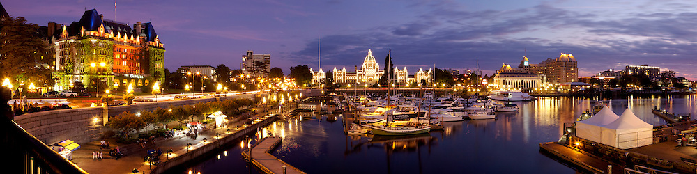 Panoramic of Victoria Inner Harbour, British Columbia, Canada