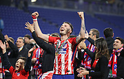 Saúl Ñíguez  of Atletico Madrid celebrates during the Europa League Final match between Olympique de Marseille and Atletico Madrid at Orange Velodrome, Marseille, France on 16 May 2018. Picture by Ahmad Morra.