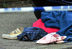© Licensed to London News Pictures. 19/08/2018<br /> New Eltham, UK. blood covered clothing at the scene of a Hammer attack on two women in New Eltham, south east London. Police are currently searching for 27 year old Joe Xuereb in connection with the attack. <br /> Photo credit: Grant Falvey/LNP