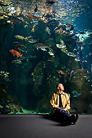 Christopher Chin of COARE at the California coast aquarium in the California Academy of Sciences.