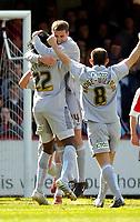 Photo: Alan Crowhurst.<br />Brentford v Bradford City. Coca Cola League 1. 08/04/2006. Bradford's Michael Symes (C) celebrates his goal.