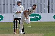 Chadd Sayer bowling during the Specsavers County Champ Div 2 match between Leicestershire County Cricket Club and Gloucestershire County Cricket Club at the Fischer County Ground, Grace Road, Leicester, United Kingdom on 17 June 2019.