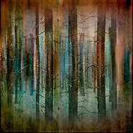 Abstract image of tree shapes in teal and copper hues