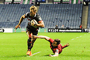 Duhan van der Merwe scores try during the Guinness Pro 14 2017_18 match between Edinburgh Rugby and Munster Rugby at Myreside Stadium, Edinburgh, Scotland on 16 March 2018. Picture by Kevin Murray.
