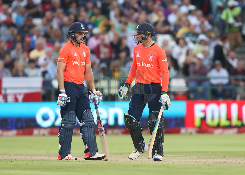 David Willey and Jos Butler during the First KFC T20 Match between South Africa and England played at Newlands Stadium, Cape Town, South Africa on February 19th 2016