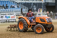 Bobcat of Mandan provided the Kioti tractor used to work the ground during slack  at the Bismarck Rodeo on Saturday, Feb. 3, 2018. This photo and more of most runs are available at Bobwire-S.com.