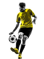 one Brazilian soccer football player young man in silhouette studio on white background