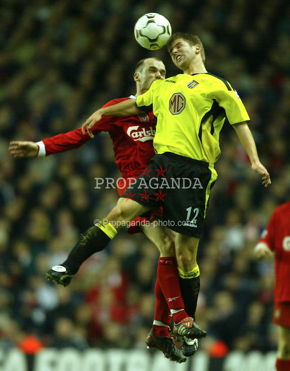 LIVERPOOL, ENGLAND - Saturday, January 10, 2004: Liverpool's Danny Murphy and Aston Villa's Olof Mellberg during the Premiership match at Anfield. (Photo by David Rawcliffe/Propaganda)
