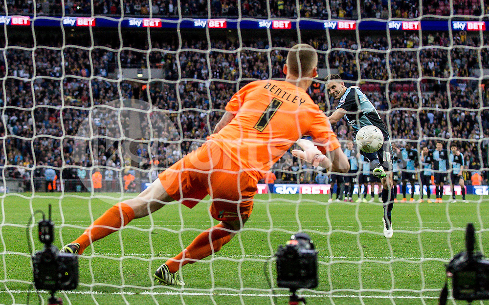 Matt Bloomfield of Wycombe Wanderers see's his penalty saved by Goalkeeper Daniel Bentley of Southend United during the Sky Bet League 2 Play-Off Final match between Southend United and Wycombe Wanderers at Wembley Stadium, London, England on 23 May 2015. Photo by Liam McAvoy.