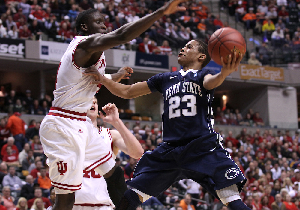 March 08, 2012: Penn State's Tim Frazier goes to the basket against IU's Victor Oladipo during the Men's Big Ten Tournament at Bankers Life Fieldhouse in Indianapolis, Ind. Indiana won 75-58..Chris Bergin/ Icon SMI
