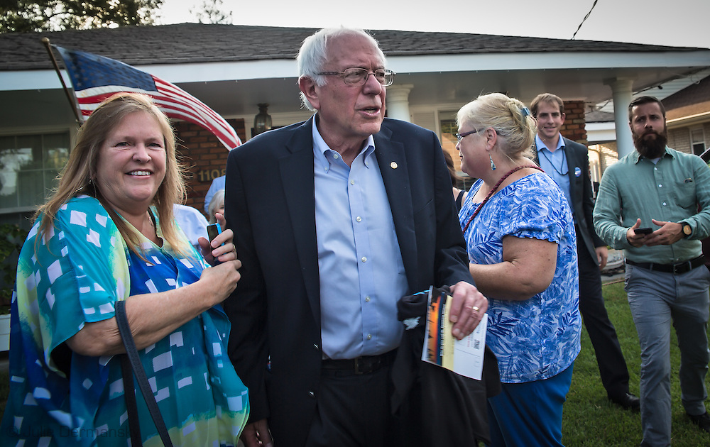 July, 26, 2015, Metairie LA,  Bernie and Jane Sanders leaving togheter Gilda Reed's home in Metairie Louisiana where a gathering held for Democratic Party supporters got a chance to meet with Sanders in an intimate setting before the townhall rally in Kenner.
