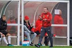 NEWPORT, WALES - Monday, October 14, 2019: Austria's head coach Rupert Marko reacts during an Under-19's International Friendly match between Wales and Austria at Dragon Park. (Pic by David Rawcliffe/Propaganda)