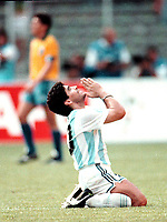 1990 - FOOTBAL WORLD CUP ITALY'90 - DIEGO MARADONA PThe Argentine player DIEGO AMRADONA PRAY after win the CLASSICAL match ARGENTINA Vs. BRAZIL.<br />