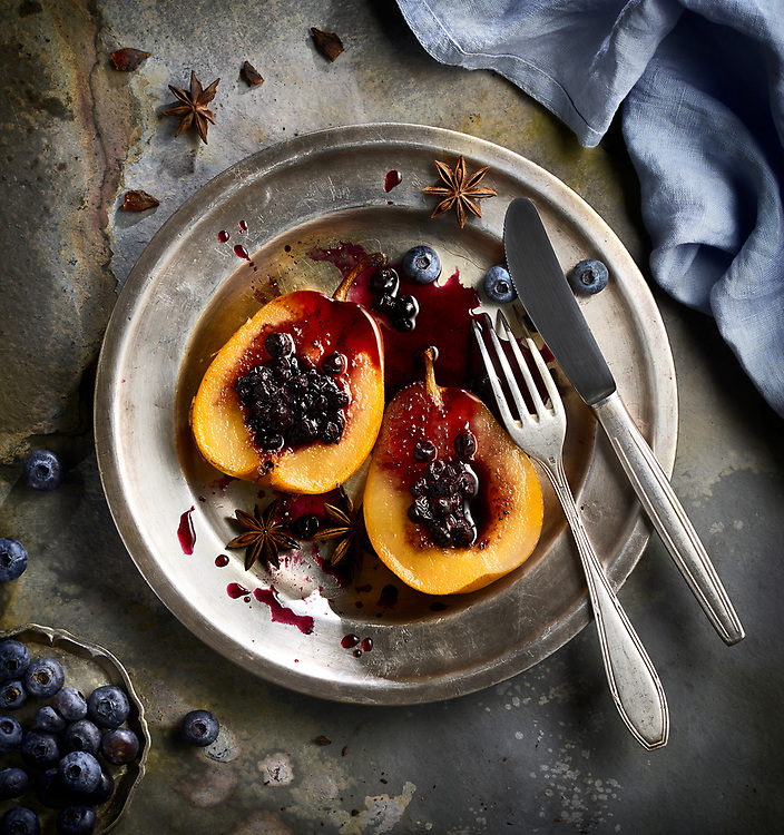 Blueberry and Pear Compote on a rustic plate.
