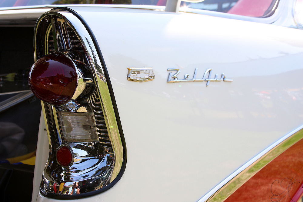 1956 Chevy Bel Air Tail light - classic 50s stylin with the shark fin touch. This car actually has a very modern NOS injection kit. This Bel Air moves!
