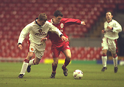 LIVERPOOL, ENGLAND - Tuesday, January 7, 1997: Liverpool's xxxx in action against Manchester United during the FA Youth Cup match at Anfield. United won 2-1. (Pic by David Rawcliffe/Propaganda)