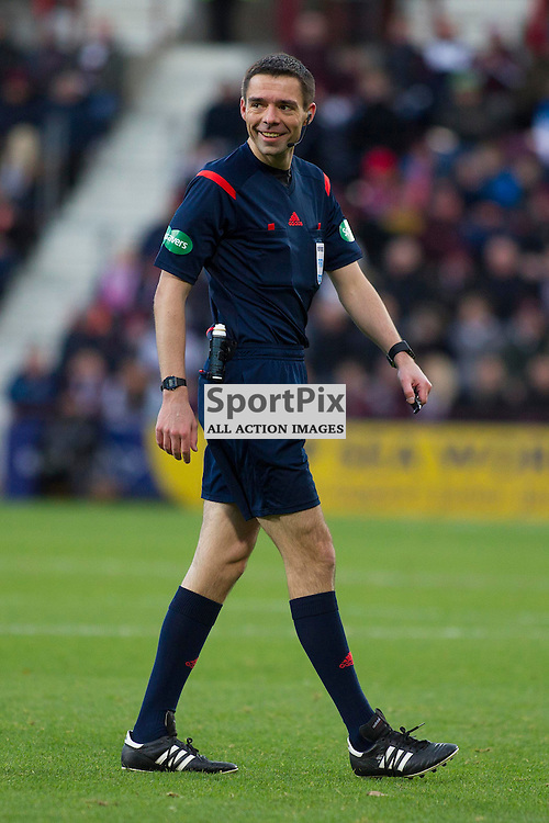 Referee Kevin Clancy during the Ladbrokes Scottish Premiership match between Heart of Midlothian FC and Dundee FC at Tynecastle Stadium on November 21, 2015 in Edinburgh, Scotland. Photo by Jonathan Faulds/SportPix