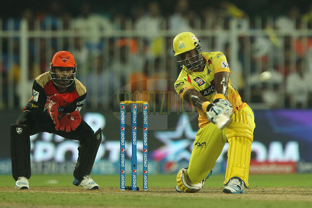 Dwayne Smith of The Chennai Superkings hits over the top for six during match 17 of the Pepsi Indian Premier League 2014 between the Sunrisers Hyderabad and the Chennai Superkings held at the Sharjah Cricket Stadium, Sharjah, United Arab Emirates on the 27th April 2014<br /> <br /> Photo by Ron Gaunt / IPL / SPORTZPICS