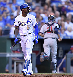 June 30, 2017 - Kansas City, MO, USA - The Kansas City Royals' Jorge Soler walks away from the plate after striking out to end the second inning against the Minnesota Twins at Kauffman Stadium in Kansas City, Mo., on Friday, June 30, 2017. (Credit Image: © John Sleezer/TNS via ZUMA Wire)