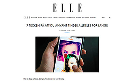 Elle magazine, Sweden; Tinder online dating app.