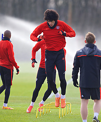 MANCHESTER, ENGLAND - Wednesday, March 16, 2016: Manchester United's Marouane Fellaini during a training session at Carrington Training Ground ahead of the UEFA Europa League Round of 16 2nd Leg match against Liverpool. (Pic by David Rawcliffe/Propaganda)