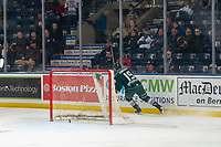 KELOWNA, CANADA - FEBRUARY 15: Bryce Kindopp #19 of the Everett Silvertips scores an empty net goal to secure the win against the Kelowna Rockets on February 15, 2019 at Prospera Place in Kelowna, British Columbia, Canada.  (Photo by Marissa Baecker/Shoot the Breeze)