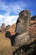 Rano Raraku, Moai (statue) quarry, Easter Island, Rapa Nui, Chile