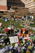 Hundreds have created a memorial in front of the University Medical Center in Tucson, Arizona, USA, , where Arizona congresswoman, Gabrielle Giffords, recovers after being shot in the head on Jan. 8, 2011.
