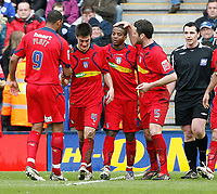 Photo: Steve Bond/Richard Lane Photography. <br />Leicester City v Colchester United. Coca Cola Championship. 12/04/2008. Kevin Lisbie (2nd R) is congratulated