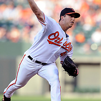 29 June 2009:  Baltimore Orioles starting pitcher Jason Berken (49) pitches in the 1st inning against the Boston Red Sox at Camden Yards in Baltimore, MD.  Berken fell to 1-5 after giving up 4 earned runs in five innings as the Red Sox defeated the Orioles 4-0.  ****For Editorial Use Only****
