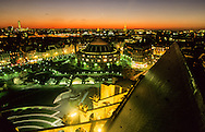 France. Paris. elevated view. forum  des halles garden and bourse du commerce. view from Saint Eustache church bell tower