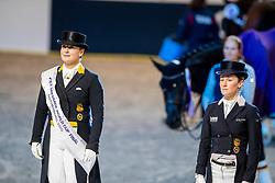 Werth Isabell, GER, Langehanenberg Helen, GER<br /> Göteborg - Gothenburg Horse Show 2019 <br /> FEI Dressage World Cup™ Final II<br /> Grand Prix Freestyle/Kür - Prix giving ceremony<br /> Longines FEI Jumping World Cup™ Final and FEI Dressage World Cup™ Final<br /> 06. April 2019<br /> © www.sportfotos-lafrentz.de/Stefan Lafrentz