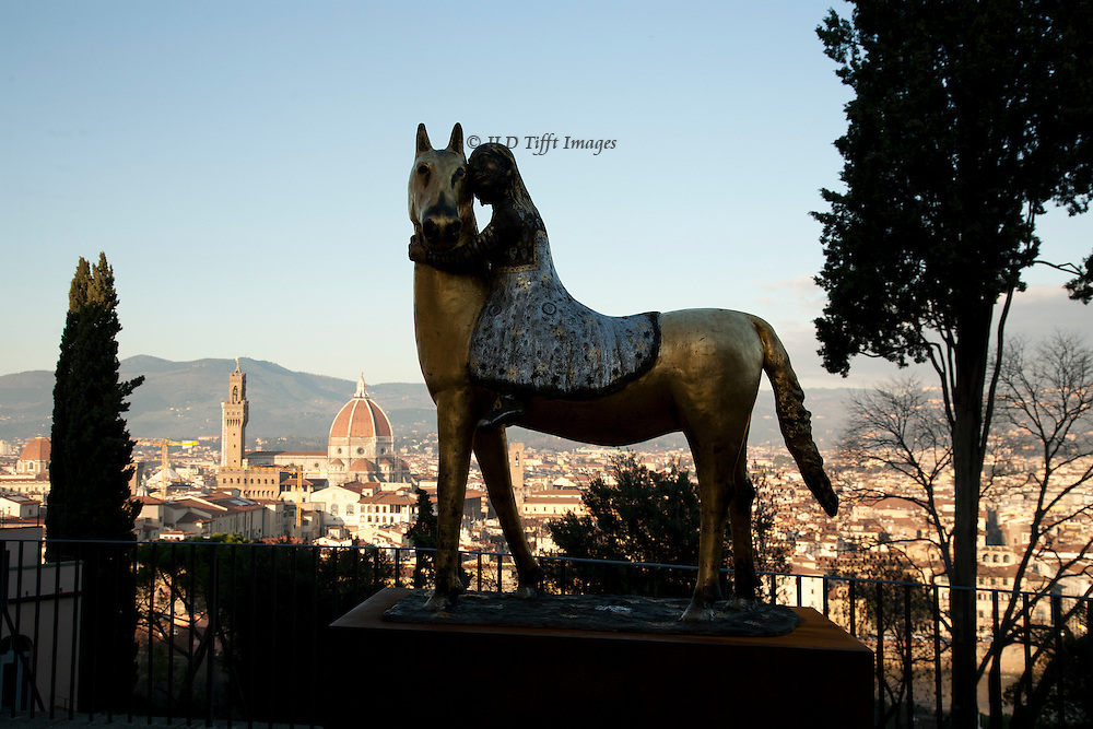The Bardini Gardens are a vantage point for another view of the city.  A statue of a girl on a horse is placed at a strategic point to be sure you see it.  The sculptor is a contemporary, Giuseppe Gavazzi.