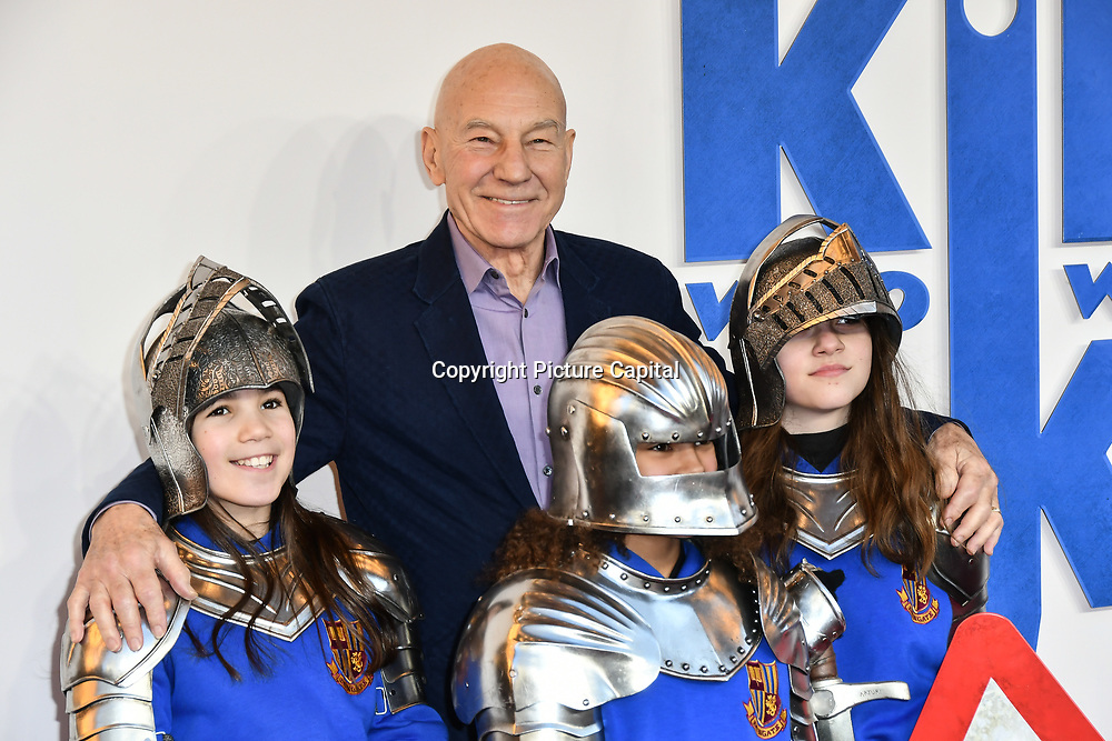 Patrick Stewart Arrives at The Kid Who Would Be King on 3 February 2019 at ODEON Luxe Leicester Square, London, UK.