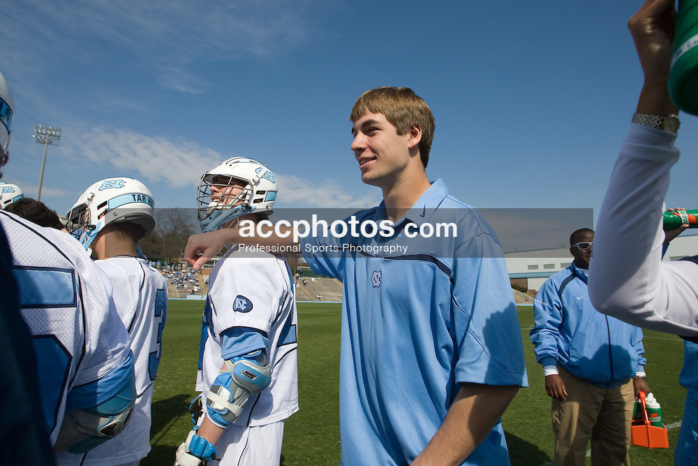 16 February 2008: North Carolina Tar Heels attackman Matthias McCall (19) and midfielder Ben Hunt (18) before a 2-15 win over the Bellarmine Knights at Fetzer Field in Chapel Hill, NC.