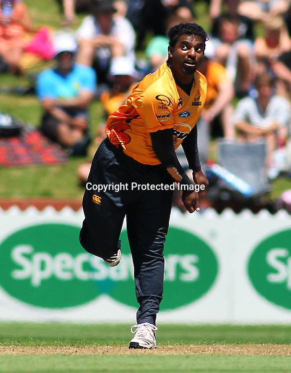 Muttiah Muralidhara bowls during their Twenty20 Cricket match - HRV Cup, Wellington Firebirds v Central Stags, 27 December 2011, Hawkins Basin Reserve, Wellington. . PHOTO: Grant Down / photosport.co.nz