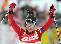 Jubel Ole Einar Bjoerndalen Norwegen<br />Biathlon IBU Weltcup Ruhpolding, 12,5km Verfolgung Herren
