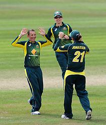Australia's Erin Osbourne and Jess Jonassen celebrate the wicket of England's Amy Jones. - Photo mandatory by-line: Harry Trump/JMP - Mobile: 07966 386802 - 21/07/15 - SPORT - CRICKET - Women's Ashes - Royal London ODI - England Women v Australia Women - The County Ground, Taunton, England.